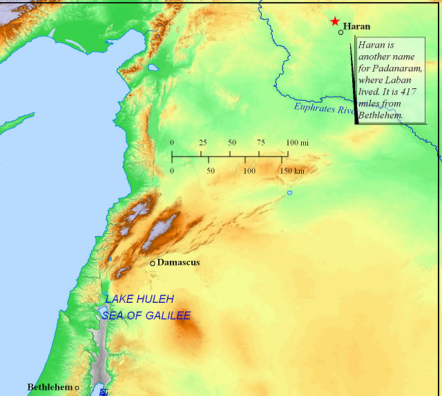 Distance from home of Leban to Bethlehem